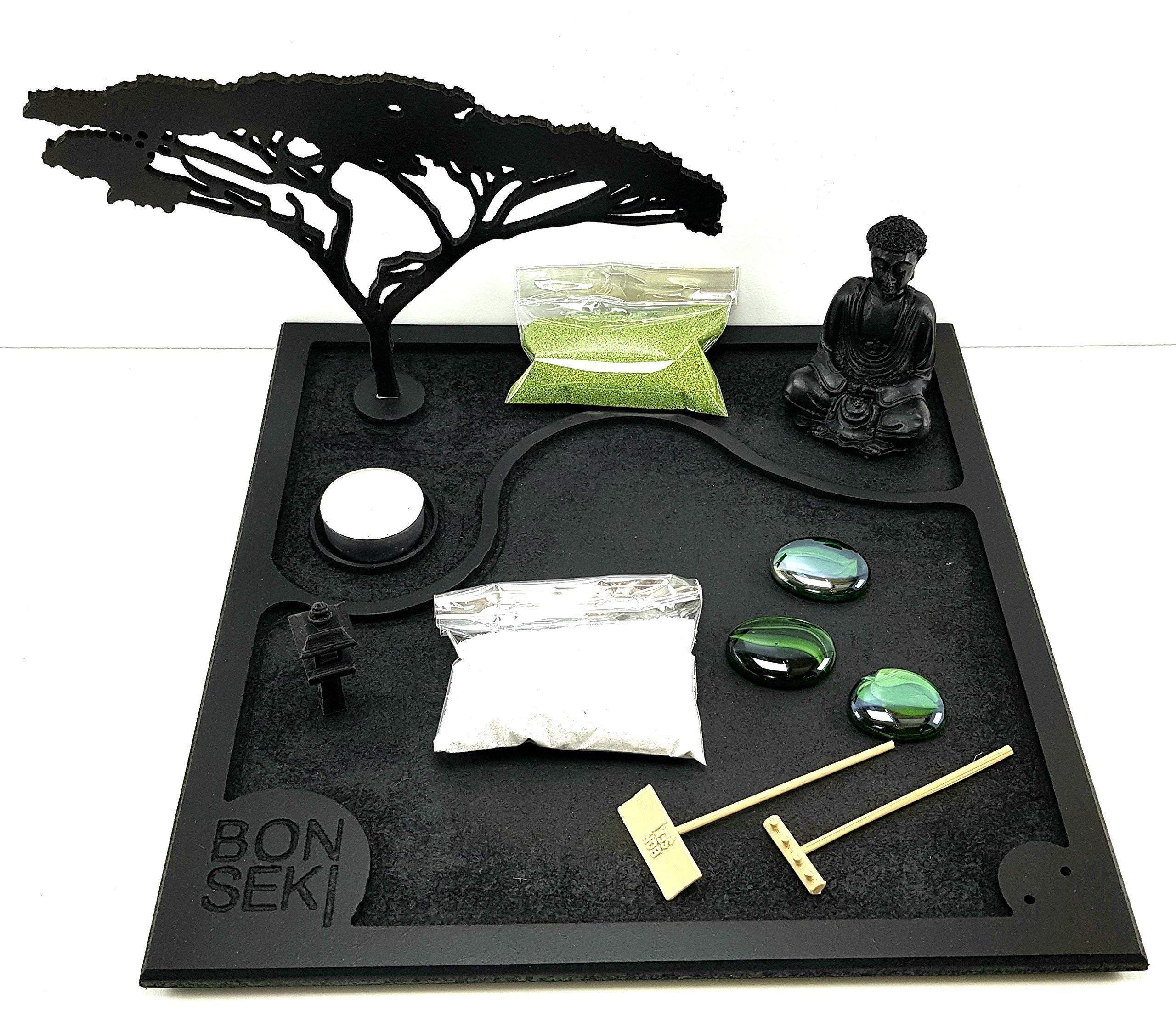 Bonseki Giardino Zen Da Tavolo 30 X 30 In Legno Proietta L Ombra