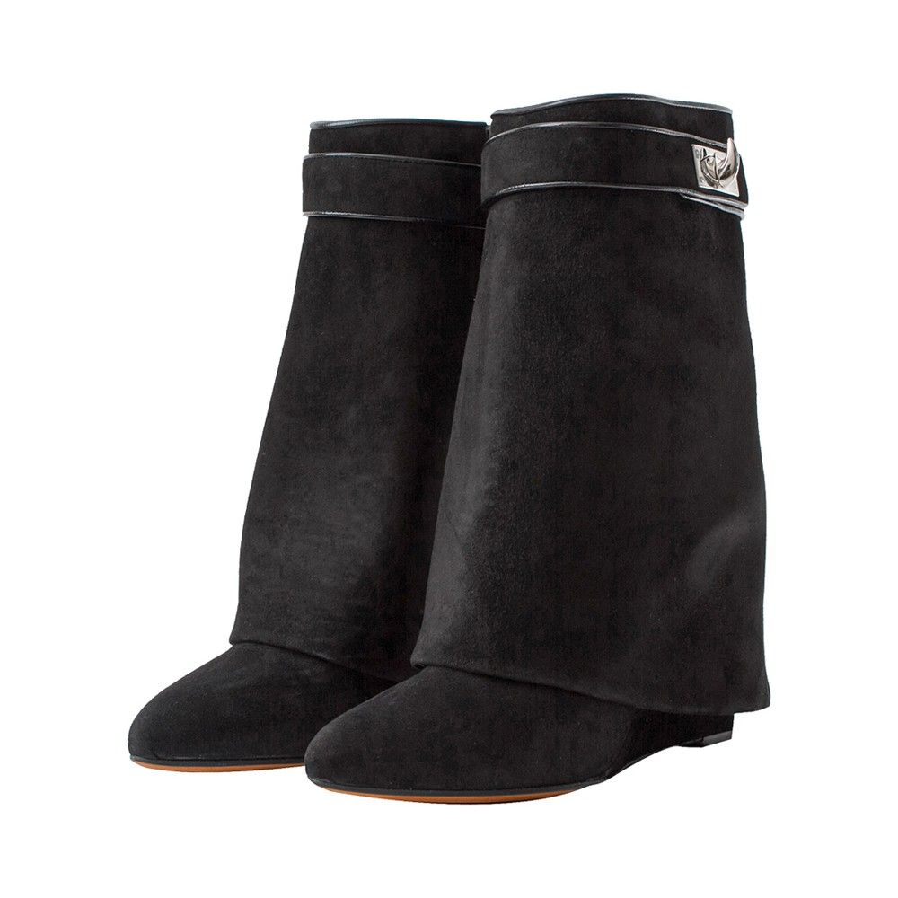 GIVENCHY - Black Shark Lock Suede Wedge Ankle Boots