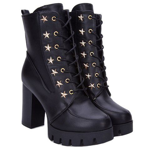 Chunky lace up star boots #boots