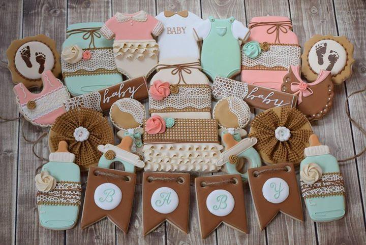 Flourish Photos From Flourish S Post Country Baby Shower Rustic Baby Shower Cake Baby Shower Cookies