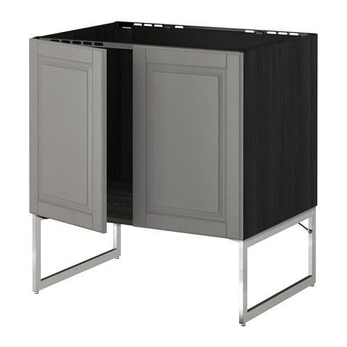 METOD Unterschrank für Spüle + 2 Türen - Holzeffekt schwarz, Bodbyn - küchen hängeschränke ikea