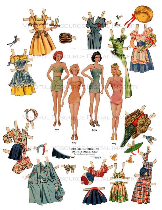 picture relating to Printable Vintage Paper Dolls referred to as Girlfriends Paper Dolls 1940s Classic Paper by means of