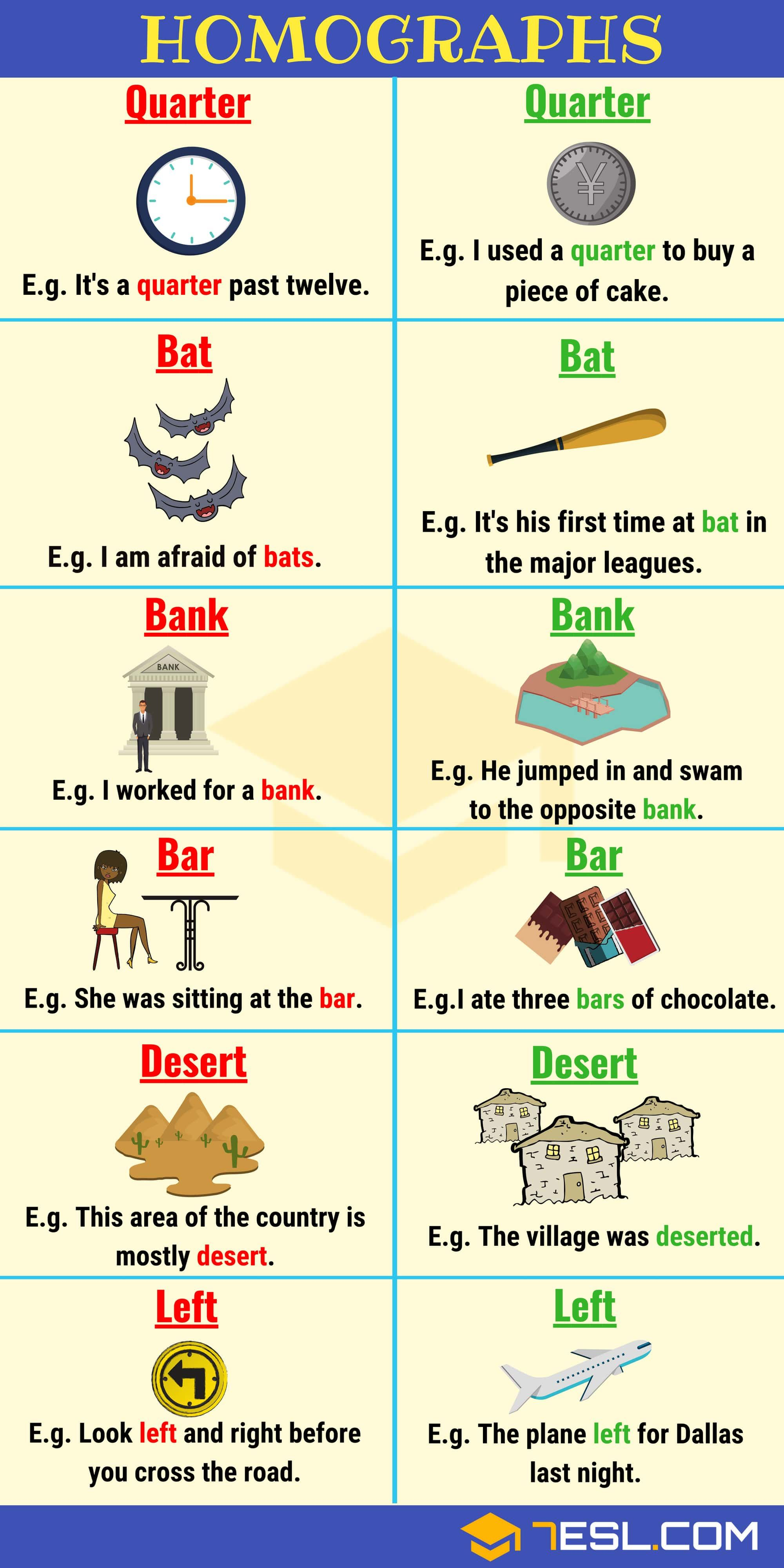 List Of 150 Common Homographs In English With Examples Pinterest
