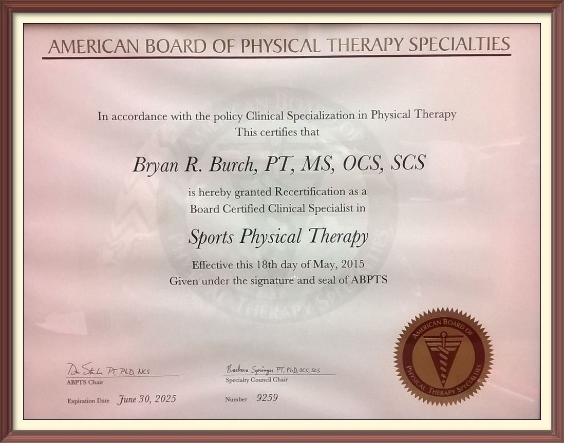 California board of physical therapy - Congratulations To Bryan For Renewing His Sports Physical Therapy Specialty Certification There Are Only 125 Physical Therapists In California To Hold This