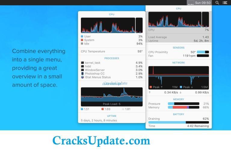 iStat Menus 6 30 With Crack Registration Key + License Key Mac OS