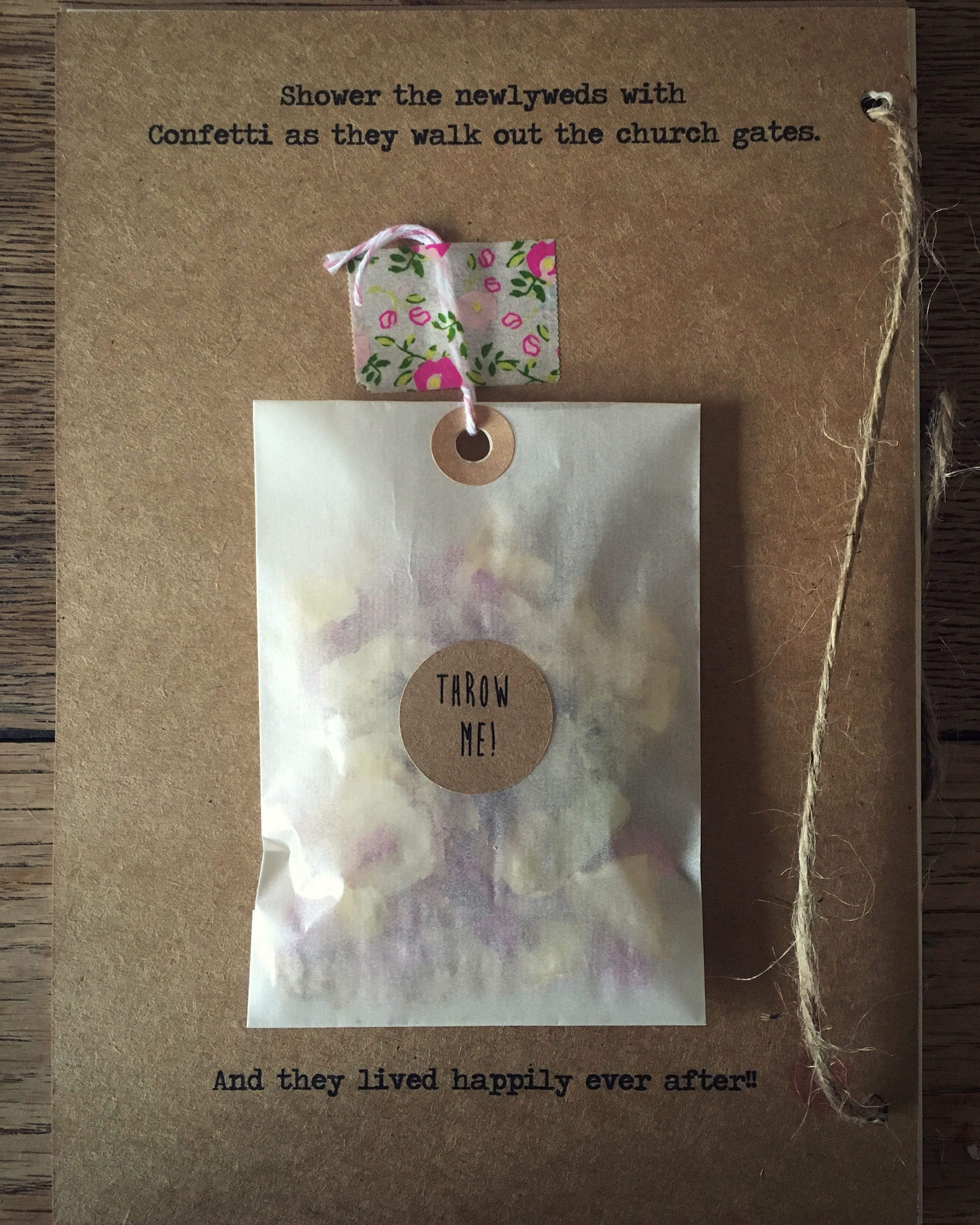 Confetti with the order of service | Country Wedding Invitation ...