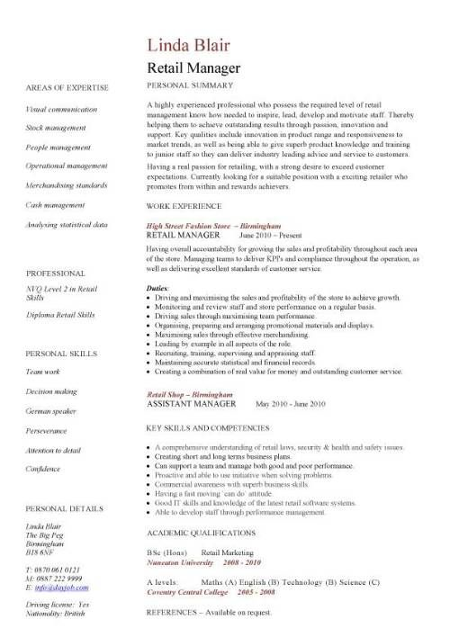 Retail CV template, sales environment, sales assistant CV, shop - bank branch manager resume