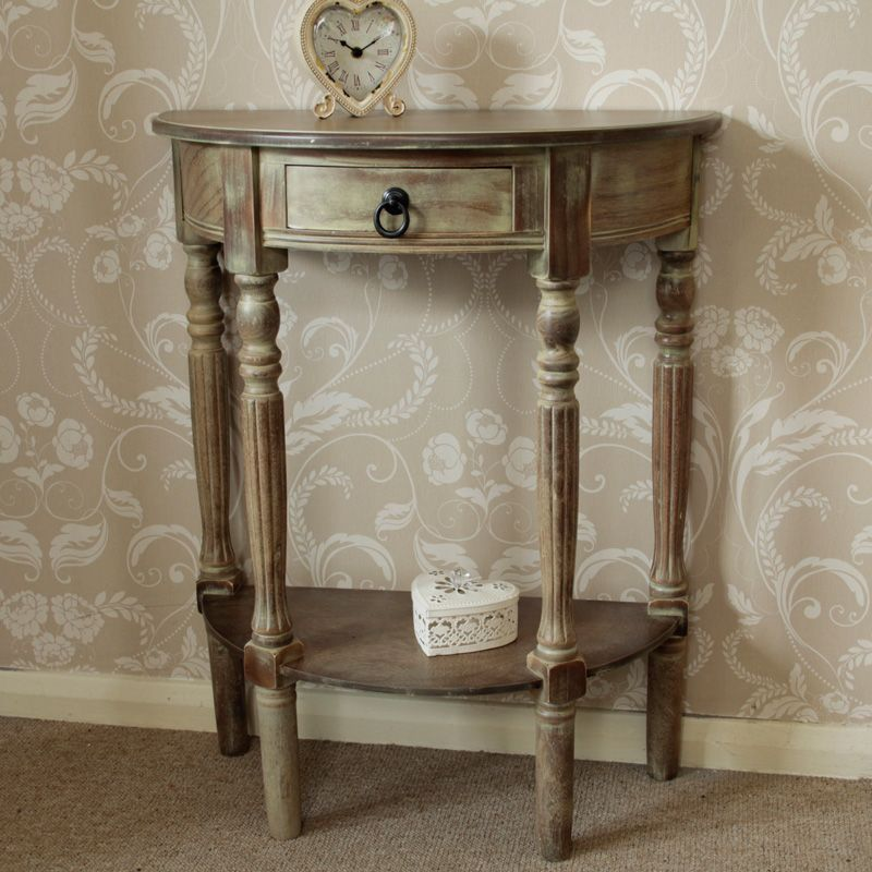 Beautiful Wooden Half Moon Side Table Dark Wooden Demi Lune Table With A Washed  Effect Finish With One Small Drawer And Shelf