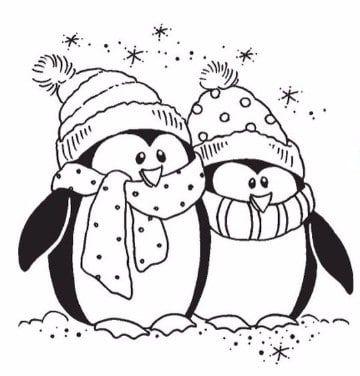 dibujos de pinguinos para colorear enamorados | digi stamps, images ...