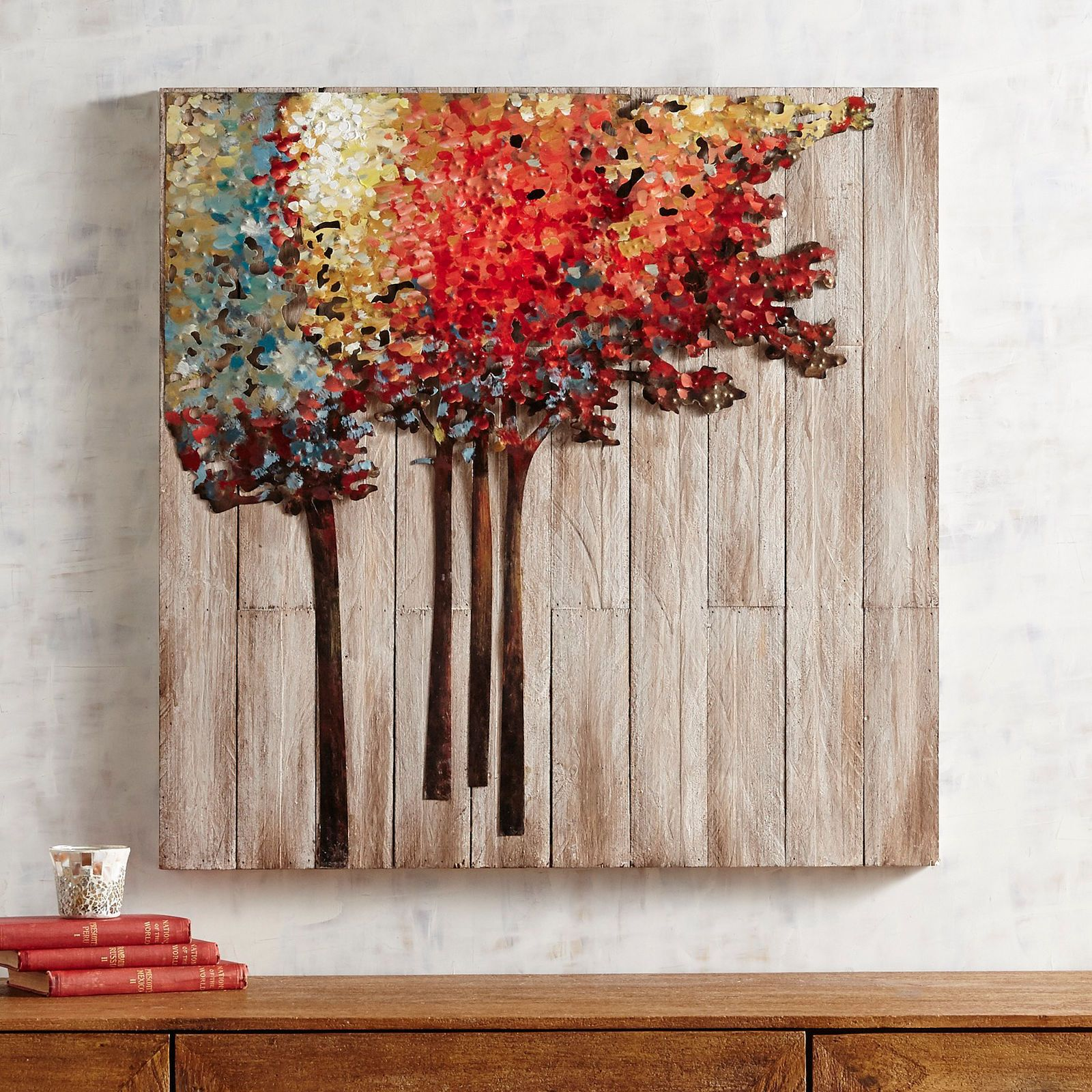Lively trees on planked wood wall decor in home pinterest