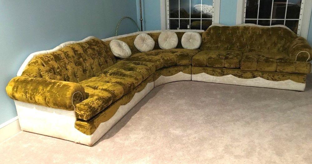 Vtg Mid Century Hollywood Regency Crushed Velvet L Shaped Sofa