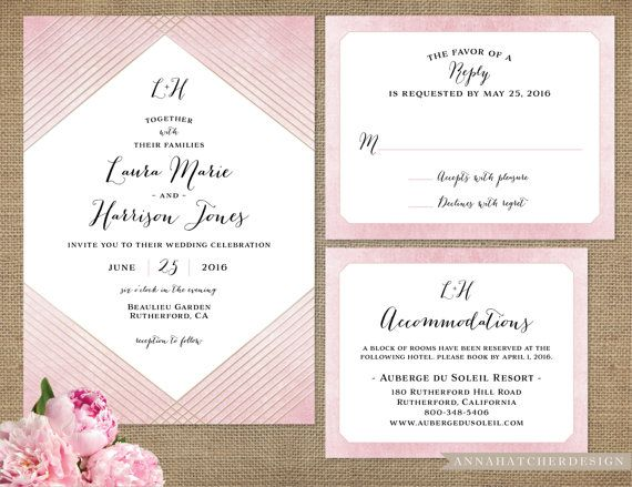 Foil Wedding Invitation Rose Gold Matching Reply Card Accommodation Details