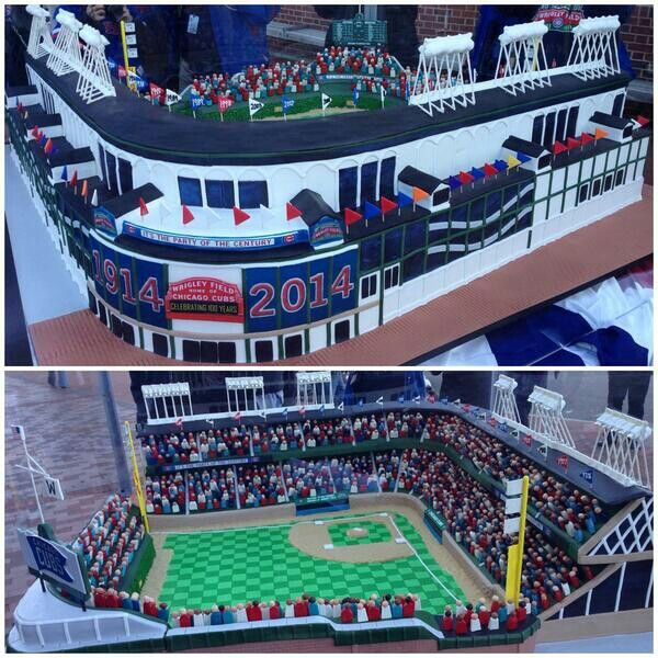 Happy Birthday Wrigley Field 100th Anniversary Cake 2014