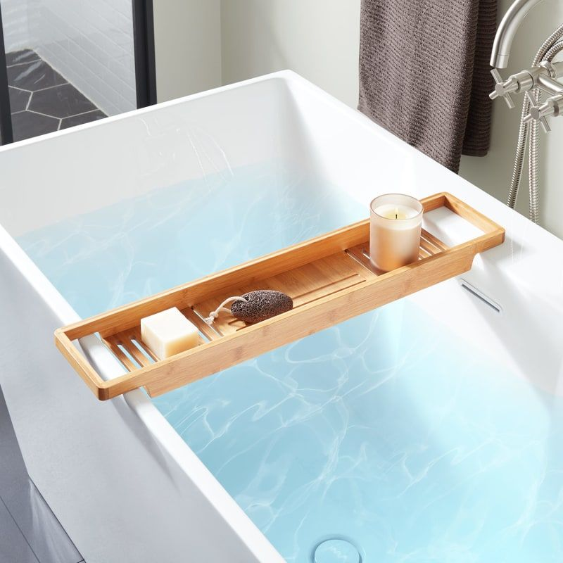 Signature Hardware Orsen Maple Wood Tub Caddy Tray