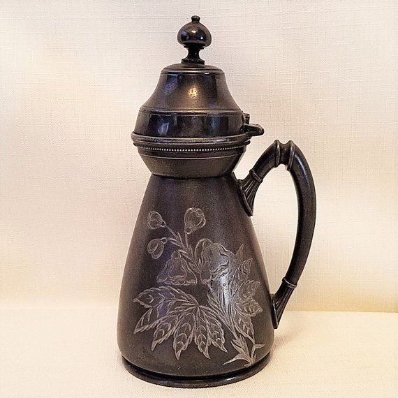 Antique Syrup Pitcher / Jug, Quadruple Silver Plate With
