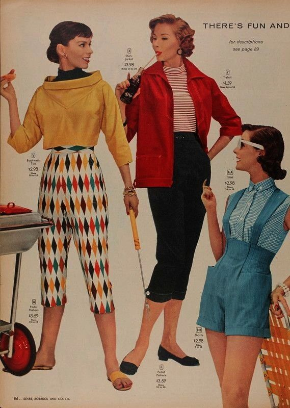 playclothes shorts jumper pedal pushers 50s fashion color photo print ad models magazine play cloth
