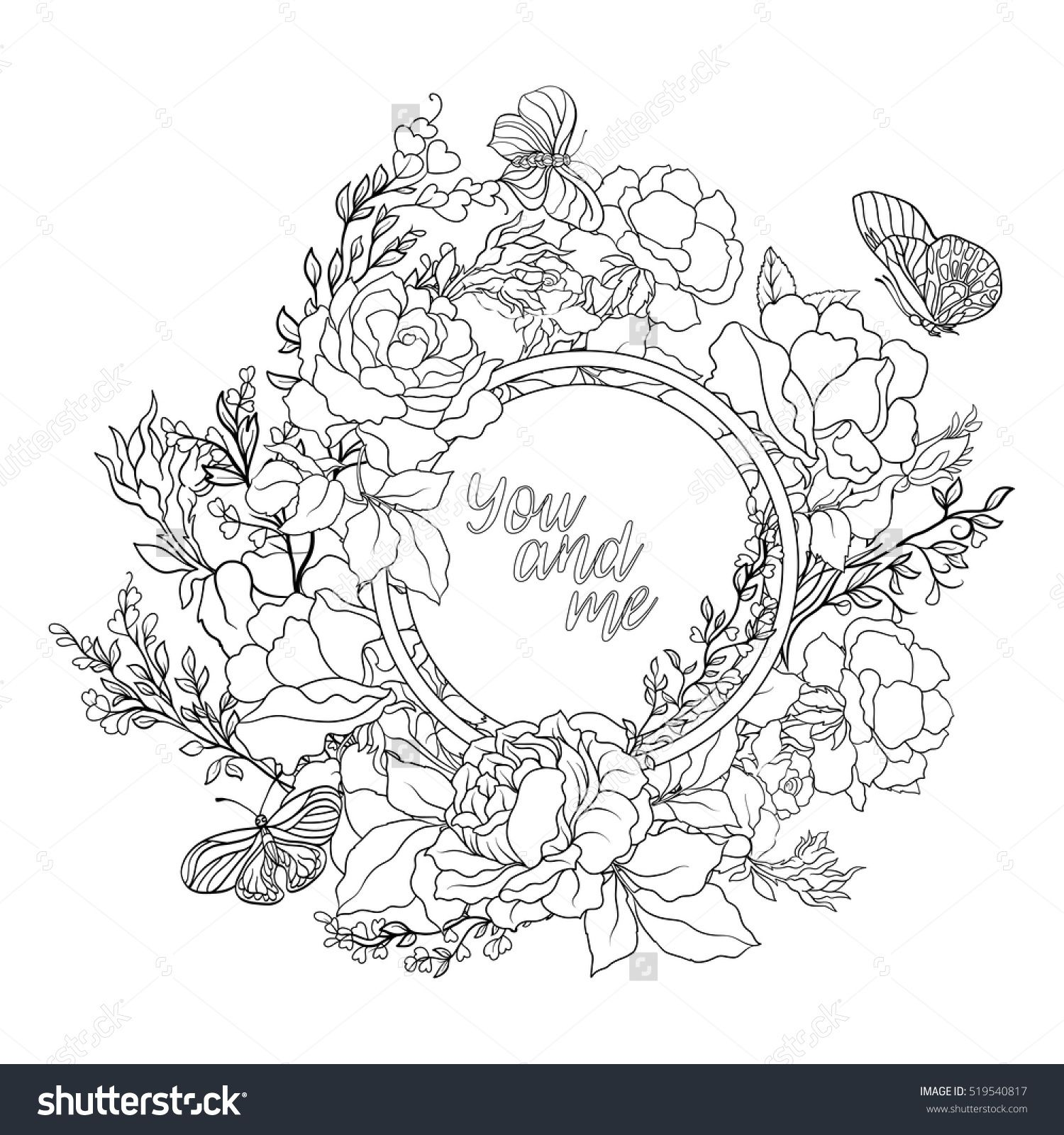 rose flower background with space for text outline drawing