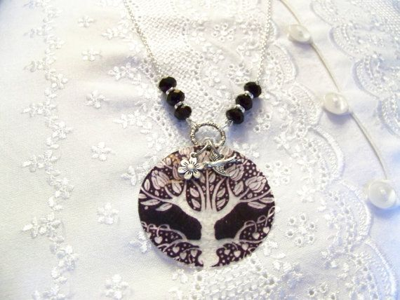 403 Tree of Life Capiz Shell Necklace by CreatedinTheWoods on Etsy, $17.95