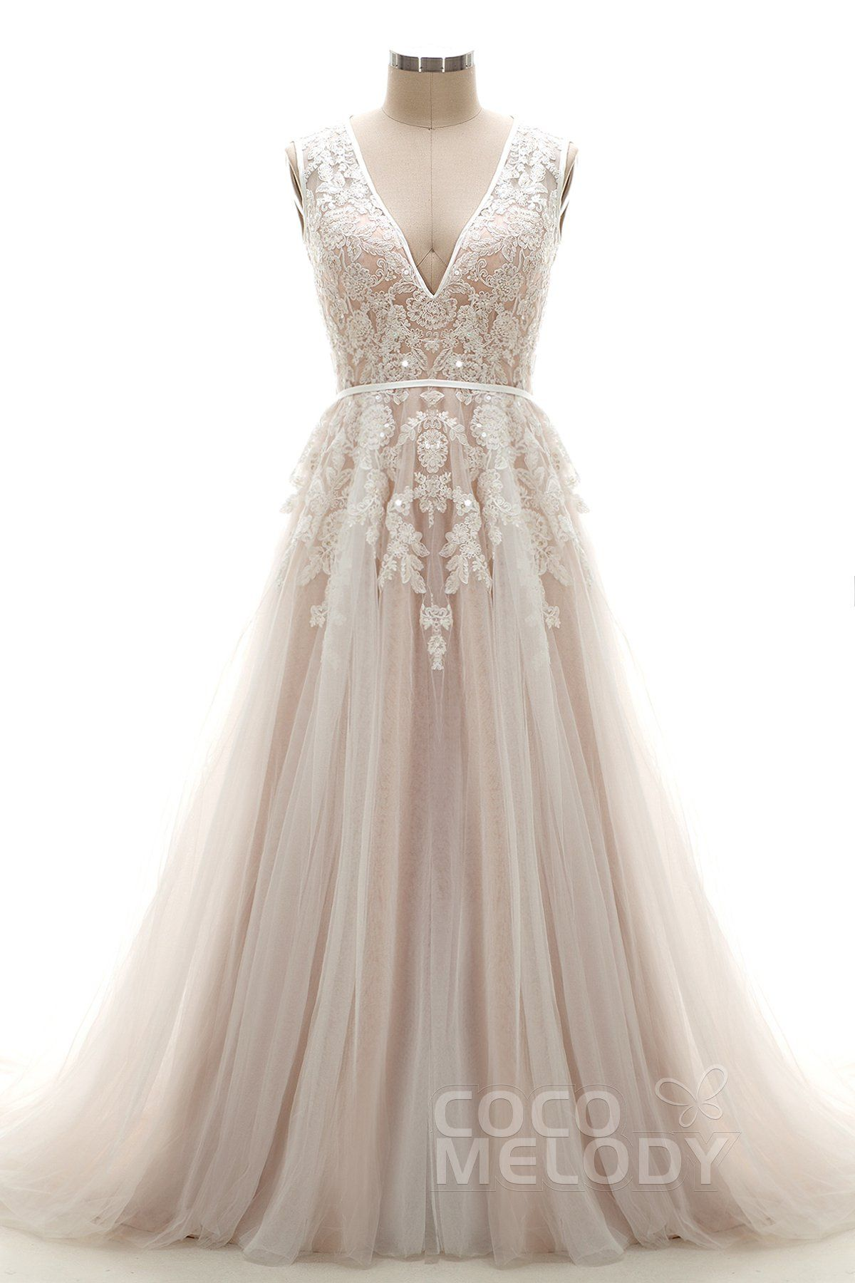 Latest A Line V Neck Natural Chapel Train Tulle and Lace Ivory