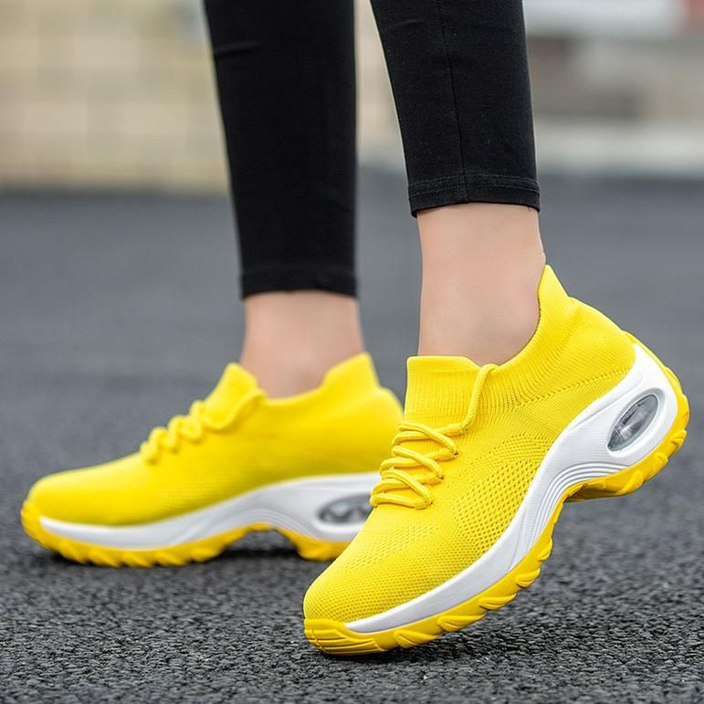 Womens Lace Breathable Fitness Shoes Ladies Girls Platform Casual Trainers Slip On Wedge Sport Sneakers