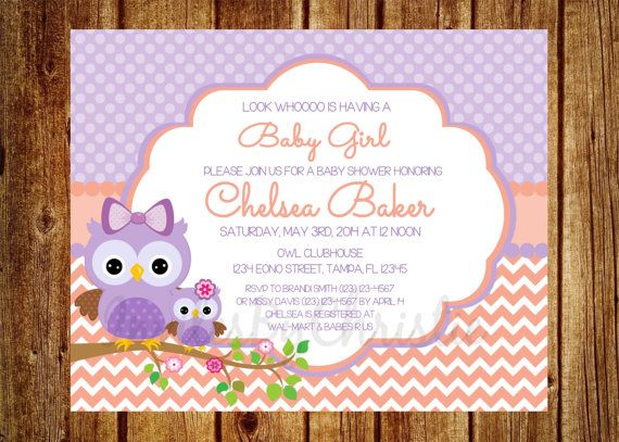 purple and peach owl baby shower invitation by