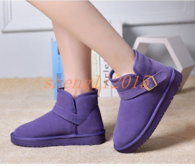 Women'S Suede Leather Buckle Strap Snow Boots Winter Flat Pull On Ankle Boots
