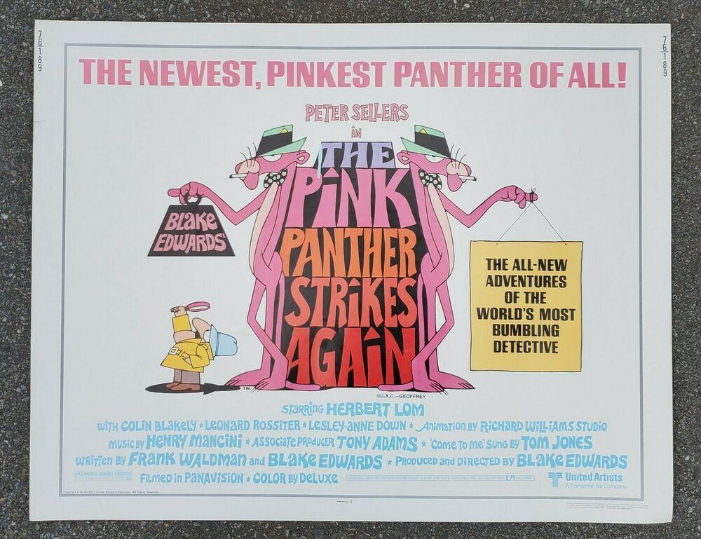 PINK PANTHER STRIKES AGAIN HALF SHEET Movie Poster 22 x 28-76/189 ...