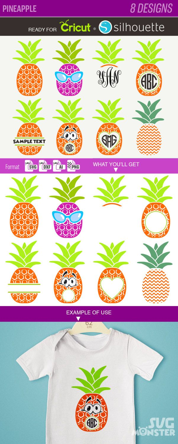 PINEAPPLE SVG Monogram frame fruit ananas clipart download dxf for cricut and Silhouette 145 by SVGmonster on Etsy