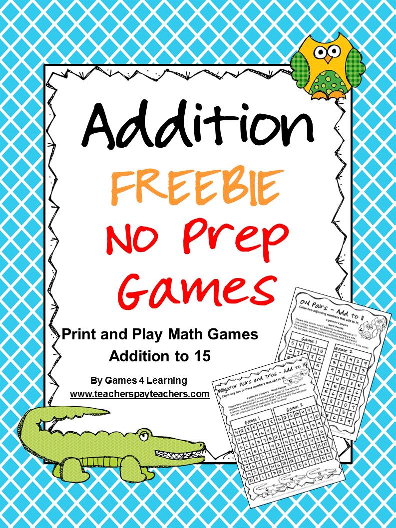Fun Games 4 Learning Freebies Math for kids, Play math