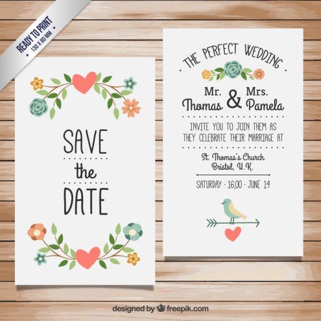 Baixe Convite Bonito Do Casamento Gratuitamente