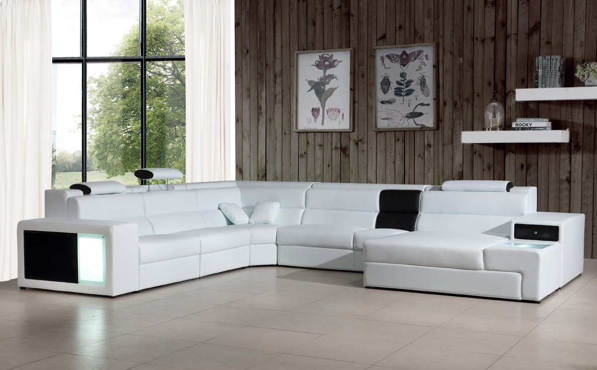 Divani Casa Polaris - Contemporary Bonded Leather Sectional Sofa ...
