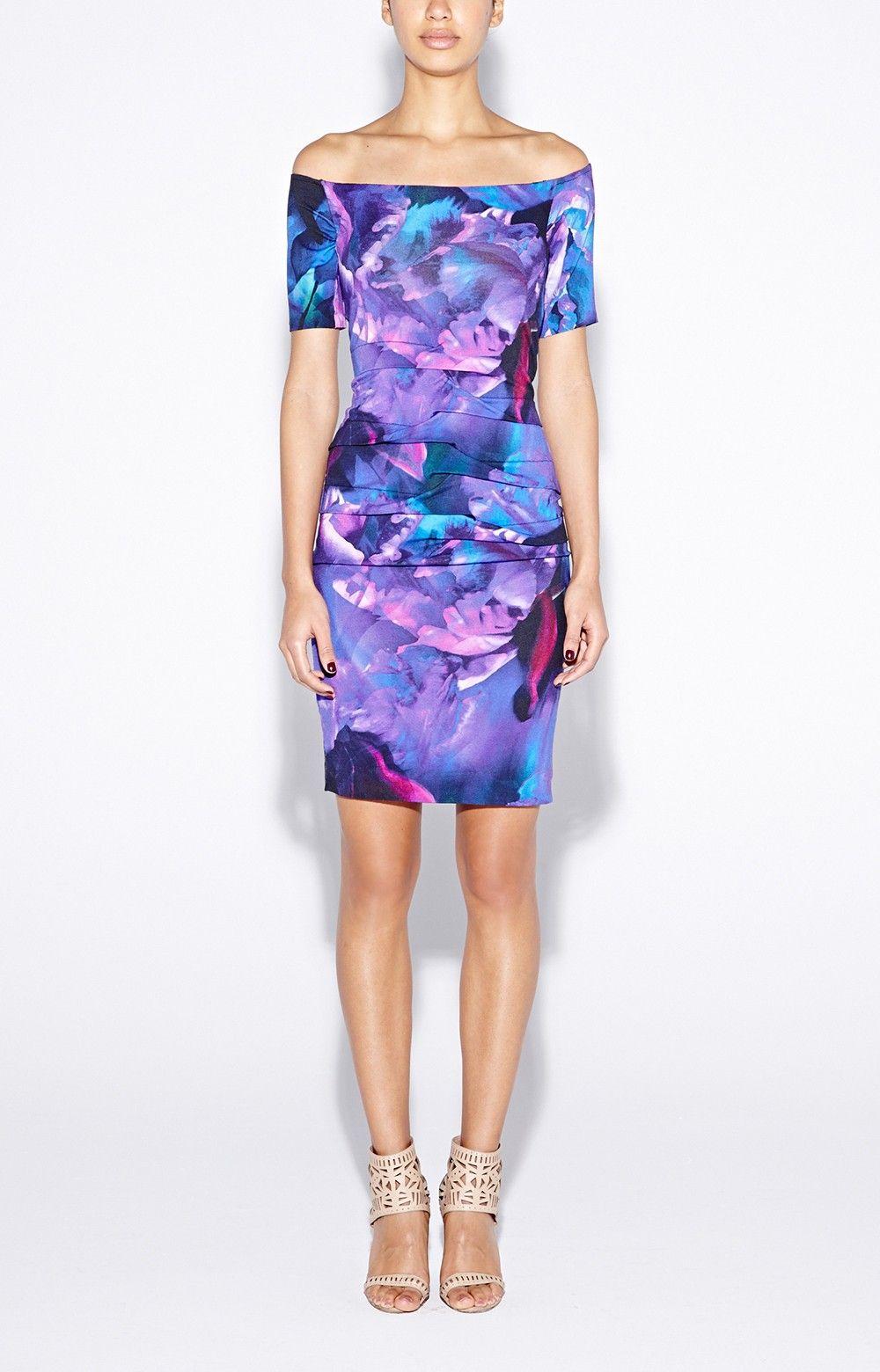 Off Shoulder Fire Flower Dress Nicole Miller | dresses | Pinterest