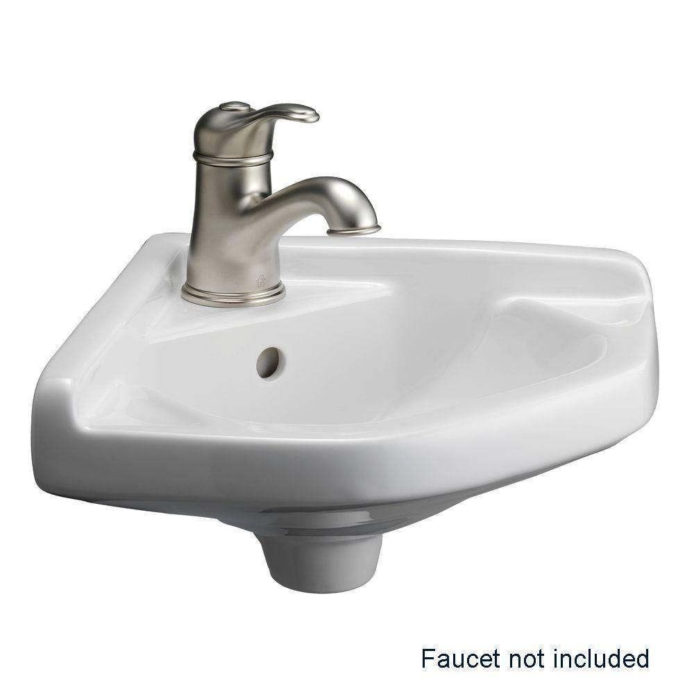 Barclay Products Corner Wall Mounted Bathroom Sink In White 4 750wh The Home Depot Wall Mounted Bathroom Sink Corner Sink Bathroom Bathroom Sink [ 1000 x 1000 Pixel ]
