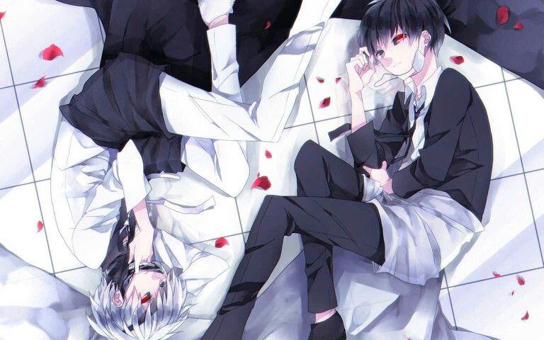 Kaneki Ken, white hair, black hair, ghoul; Tokyo Ghoul