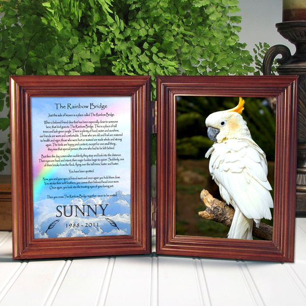 Hinged double frame with Rainbow Bridge Poem personalized with name ...