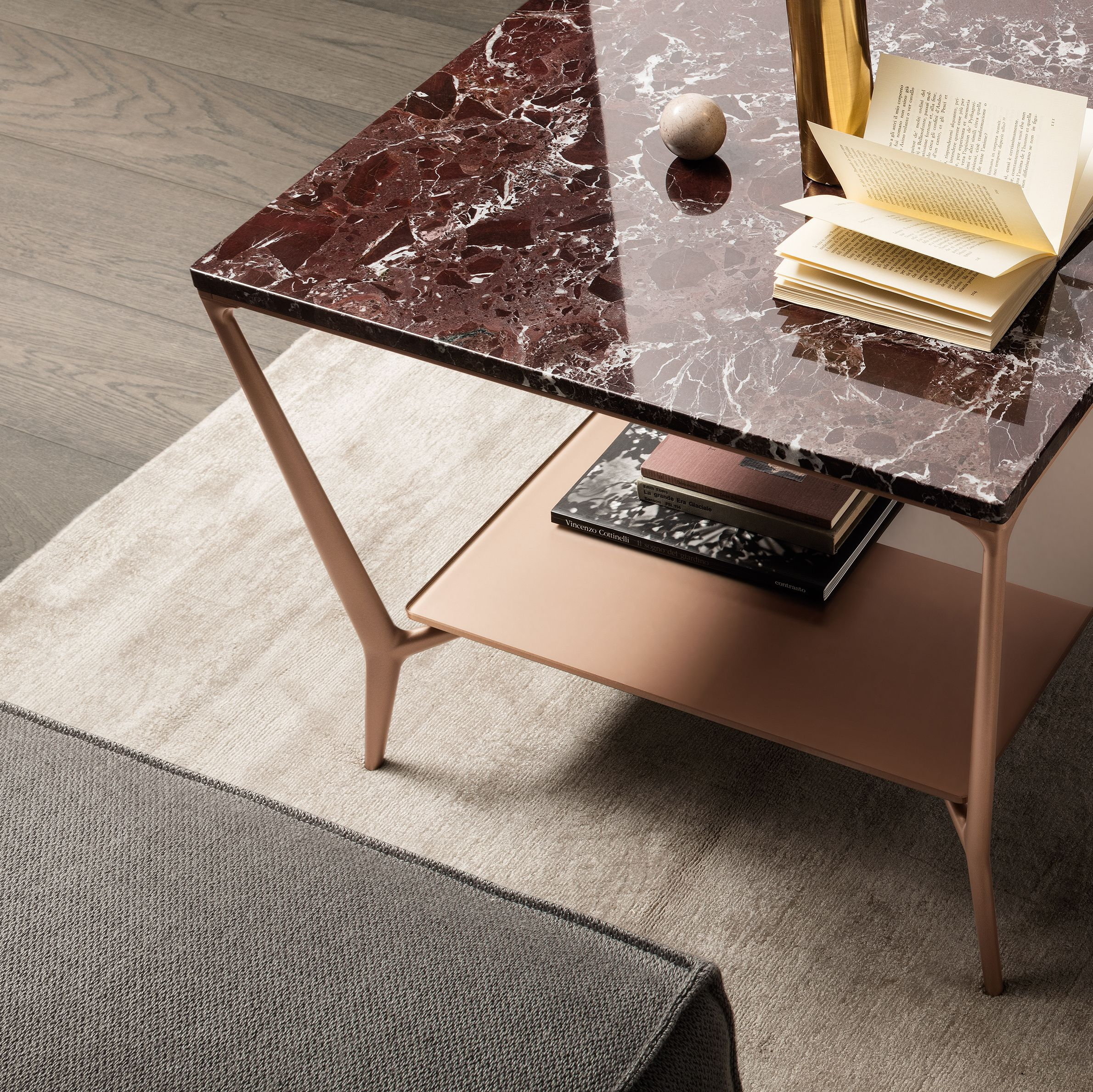 Planet coffee table with copper lacquered aluminum rosso lepanto
