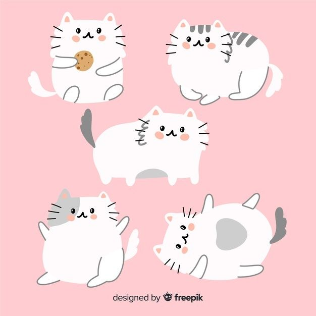 Hand drawn adorable cat collection | Free Vector