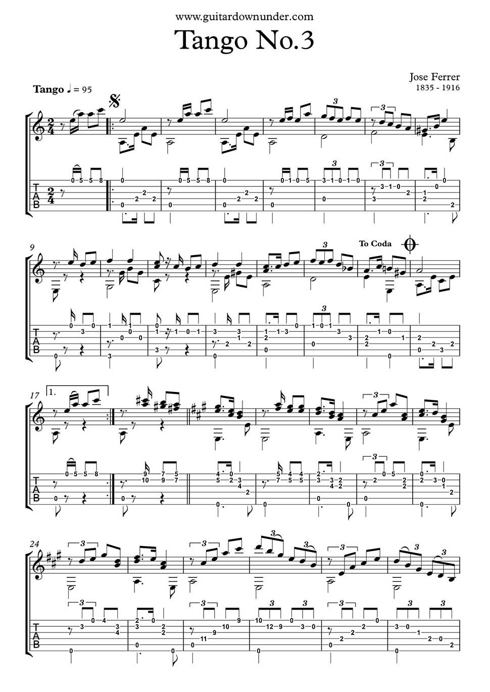 Tango no 3 by jose ferrer for classical guitar in tab and notation 3 by jose ferrer for classical guitar in tab and notation guitar sheet musicspanish biocorpaavc Image collections