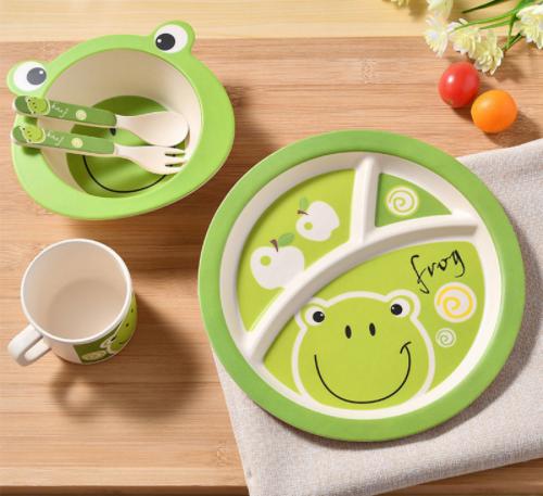 Frog Design 5 Pcs Tableware Set Kids Plates Dinnerware Set Baby Dishes