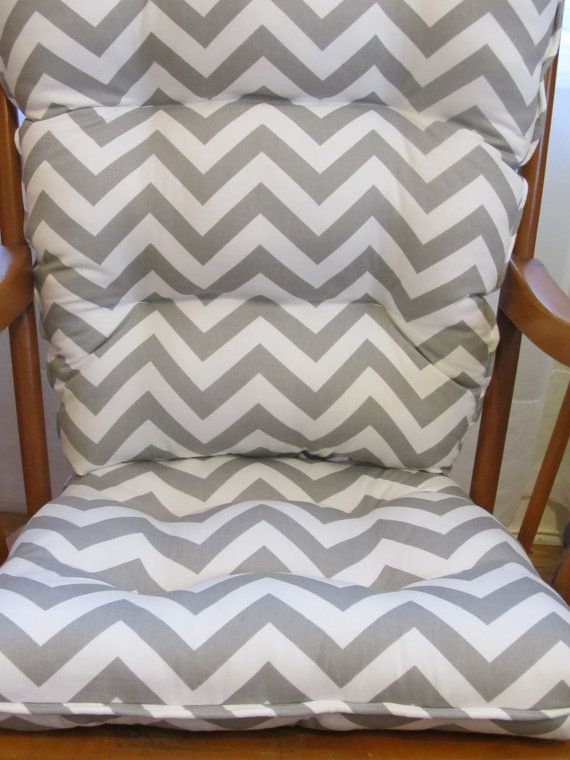 Tufted Rocker, Rocking Chair Cushion Set in Gray and White Chevron, for  Nursery, - Tufted Rocker, Rocking Chair Cushion Set In Gray And White Chevron