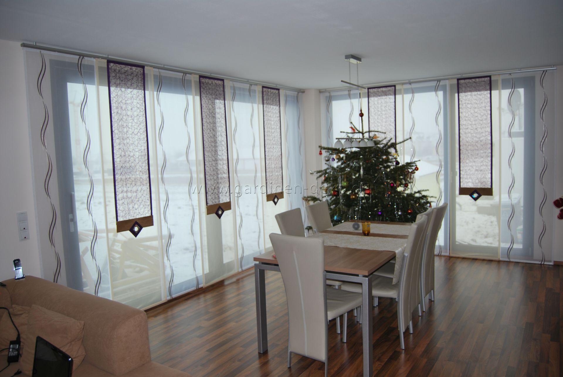 große schiebegardine fürs ess-/wohnzimmer in beige-lila-weiß ... - Wohnzimmer Lila Beige