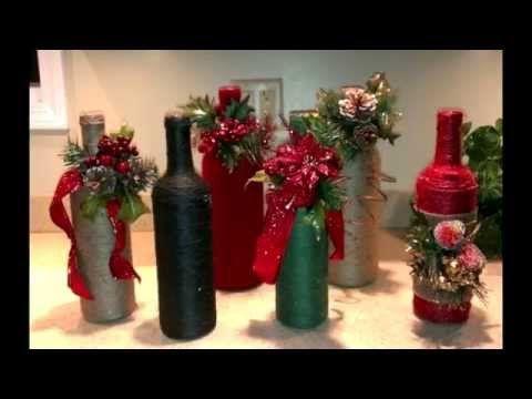 Como decorar botellas de vidrio con cabuya manualidades para navidad youtube navidac - Botellas decoradas navidenas ...
