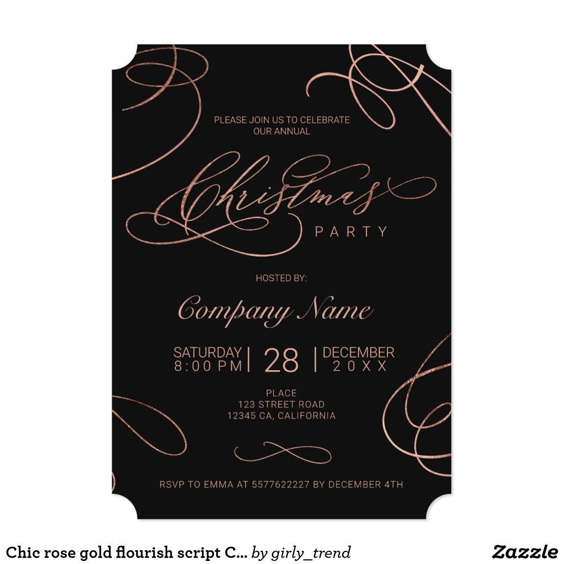 Chic rose gold flourish script Christmas corporate Invitation #christmasinvitations #holidayinvitations #corporateevents #winterevent