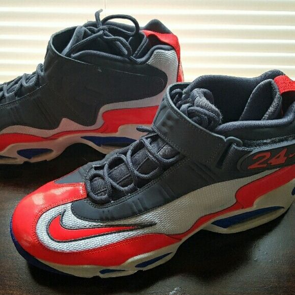 c21cb7f33118 Nike AIR GRIFFEY JR. Men s shoes Crimson   charcoal. Excellent condition  size 11.5 Ken griffey jr. NIKE AIR GRIFFEYS shoes Nike Shoes Athletic Shoes