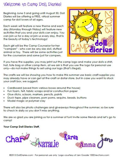 Camp Doll Diaries Welcome Letter and Registration Forms American - registration forms