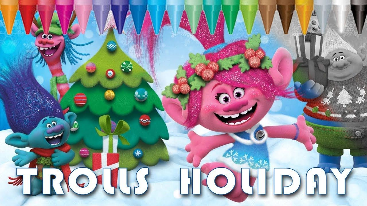 trolls holiday color christmas - coloring pages   kids coloring book