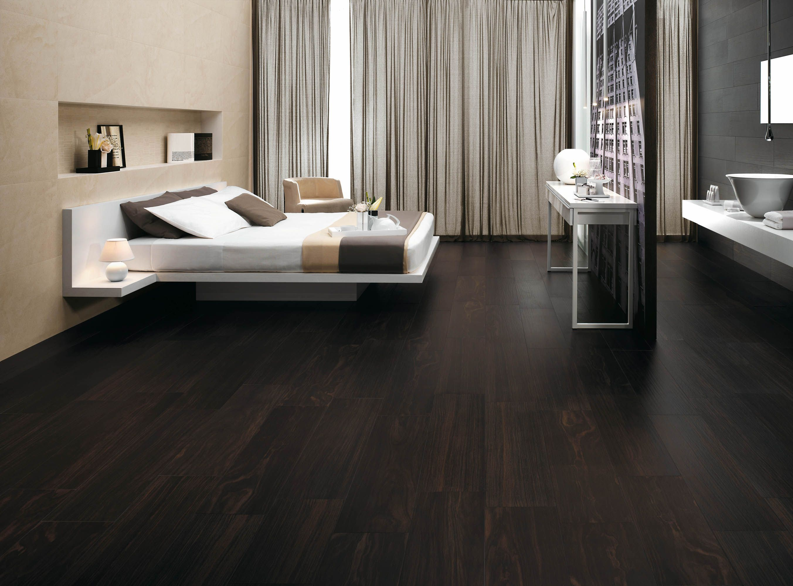 Minoli tiles etic a wood look floor with all the for Bedroom flooring