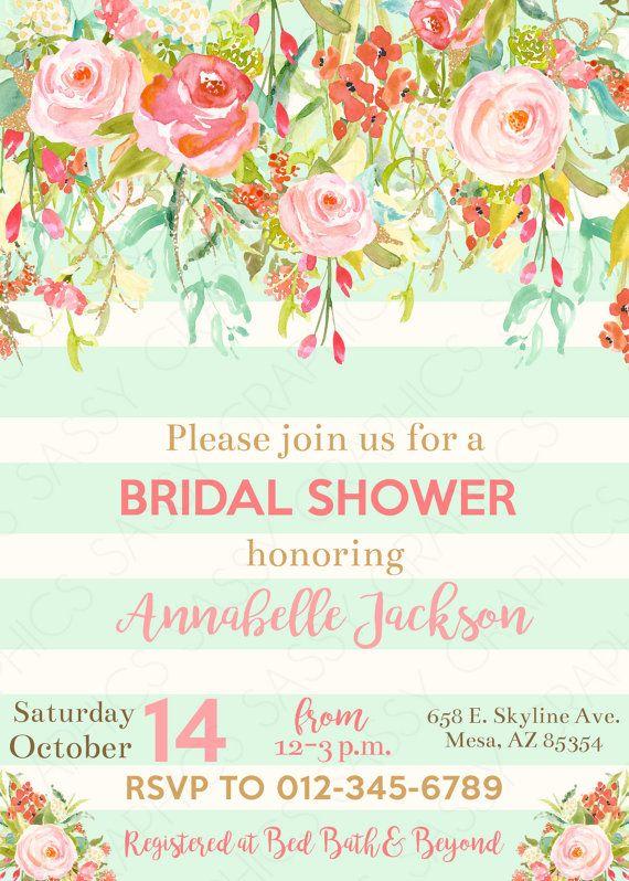8deee571cf23 Mint To Be Bridal Shower Invitation Watercolor Floral Bridal Shower Invite  Wedding Shower Gold Glitt
