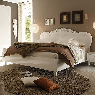 Bett Dea Doppelbett weiß Hochglanz Kopfteil Lederlook weiß 180x200 - schlafzimmer weiss hochglanz