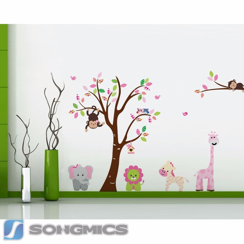 Beautiful Wandtattoo Baum Affe Tiere Eule Wald Kinderzimmer Sticker Zoo Deko XXL FWTC
